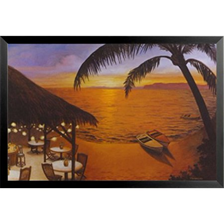 Framed Tahitian Sunset By David Morracco 24X36 Art Print Poster Tropical Paradise Ocean Beach Restaurant Sunset