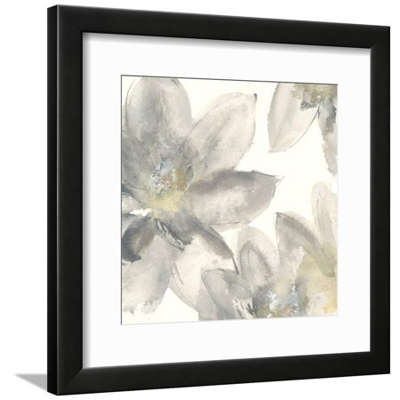 Gray and Silver Flowers I Neutral Abstract Daisy Floral Botanical Framed Print Wall Art By Chris Paschke