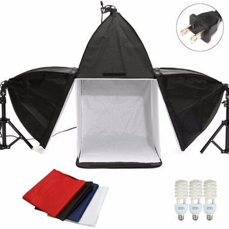 Elfeland Portable Photography Softbox Lighting Kit Studio Video Lighting Kit with Studio Background,Cube Light Tent and Energy Light