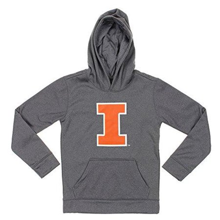 Grey Youth Pullover Sweatshirt (NCAA Youth Illinois Illini Pullover Grey Hoodie)