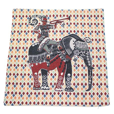 """Square Pillow Cases Cotton Linen Knight Riding Elephant with Tapestry Man Playing Horn 18"""" x 18"""" Inches Cushion Cover Home Decor -D"""