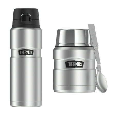 Thermos Stainless King 24-Ounce Drink Bottle, Stainless Steel & Thermos Stainless King 16-Ounce Food Jar with Folding Spoon, Stainless (Thermos Stainless Steel King 24 Ounce Drink Bottle)
