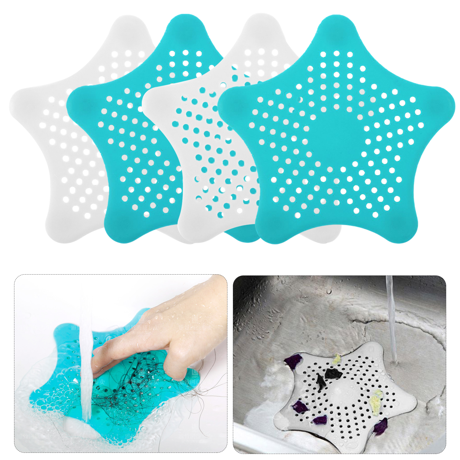 TSV Shower Drain Hair Catcher Hair Stopper for Bathroom Bathtub and Kitchen, Rubber Sink Strainer ,Hexagonal Starfish Shaped(4 Pack)