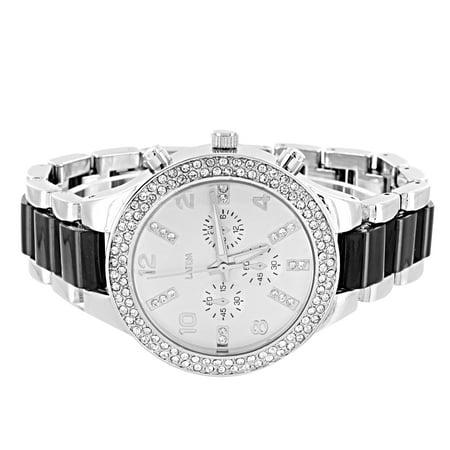 Black Silver Link Watch Women Simulated Diamond Bezel Silver Tone Analog Display