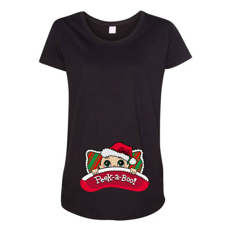 Baby Santa Pillow Christmas Holiday Cute Pregnant Expecting Mom Maternity DT T-Shirt Tee - Pregnant Christmas Outfit