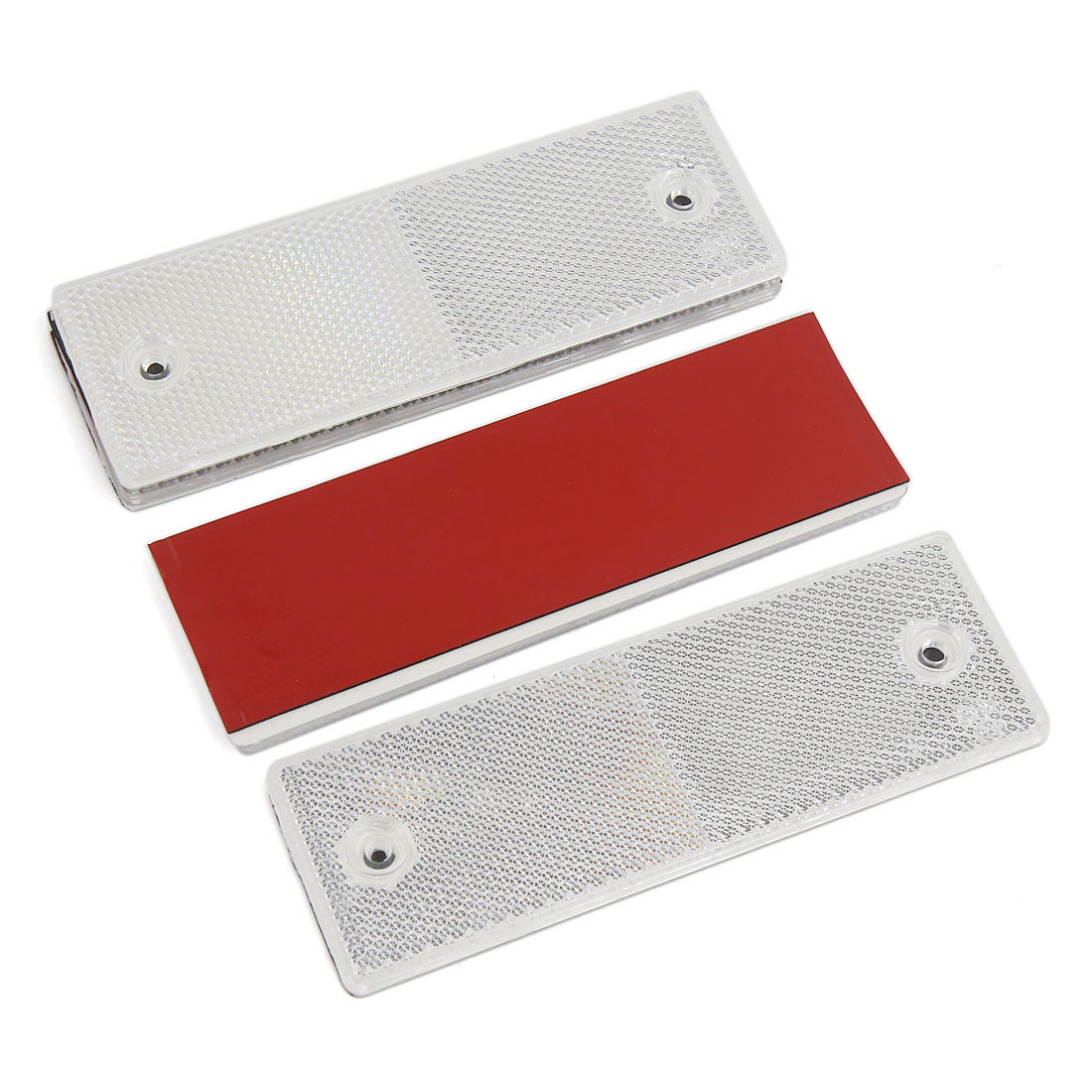 4PCS White Rectangle Stick-on Safety Reflector Warning Plate w Mounting Holes