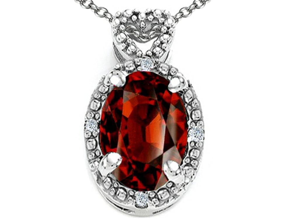 Tommaso Design Oval 8x6mm Genuine Garnet Pendant Necklace by