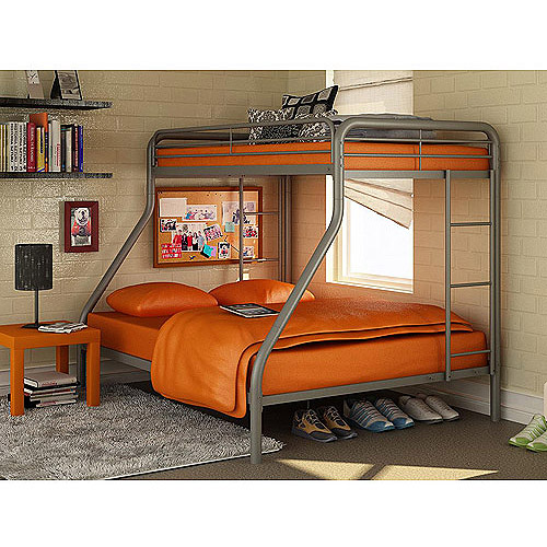 Dorel Twin Over Full Silver Metal Bunk Bed With Set Of 2 Mattresses