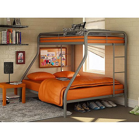 Dorel Twin-Over-Full Silver Metal Bunk Bed with Set of 2 Mattresses,