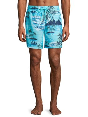 "George Men's and Big Men's 6"" Novelty Swim Trunk with Tropical Island Motif, up to Size 3XL"