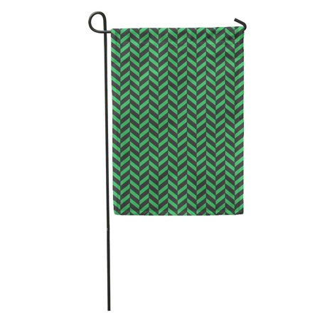 NUDECOR Abstract Black and Green Herringbone Pattern Beautiful Geometric Graphic Graphical Garden Flag Decorative Flag House Banner 12x18 inch - image 1 of 2
