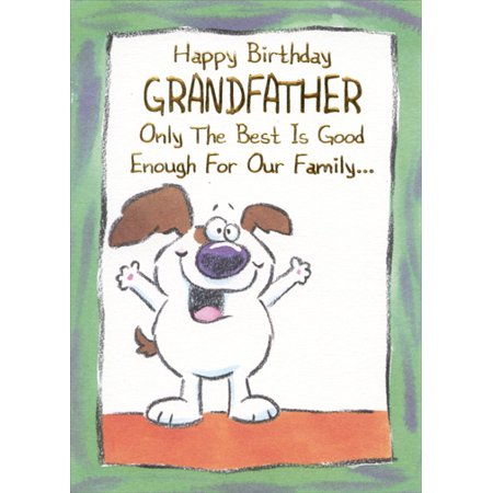 Designer Greetings White Dog With Big Smile Funny Grandfather Birthday Card