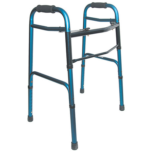 DMI Two-Button Release Aluminum Folding Walker with Rubber Tips, Blue