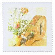 3dRose Vintage Rose and Guitar Music Instruments - Quilt Square, 6 by 6-inch