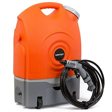 Ivation Multipurpose Portable Spray Washer w/Water Tank - Runs on Built-In Rechargeable Battery, Home Plug and 12v Car Plug - Integrated Roller