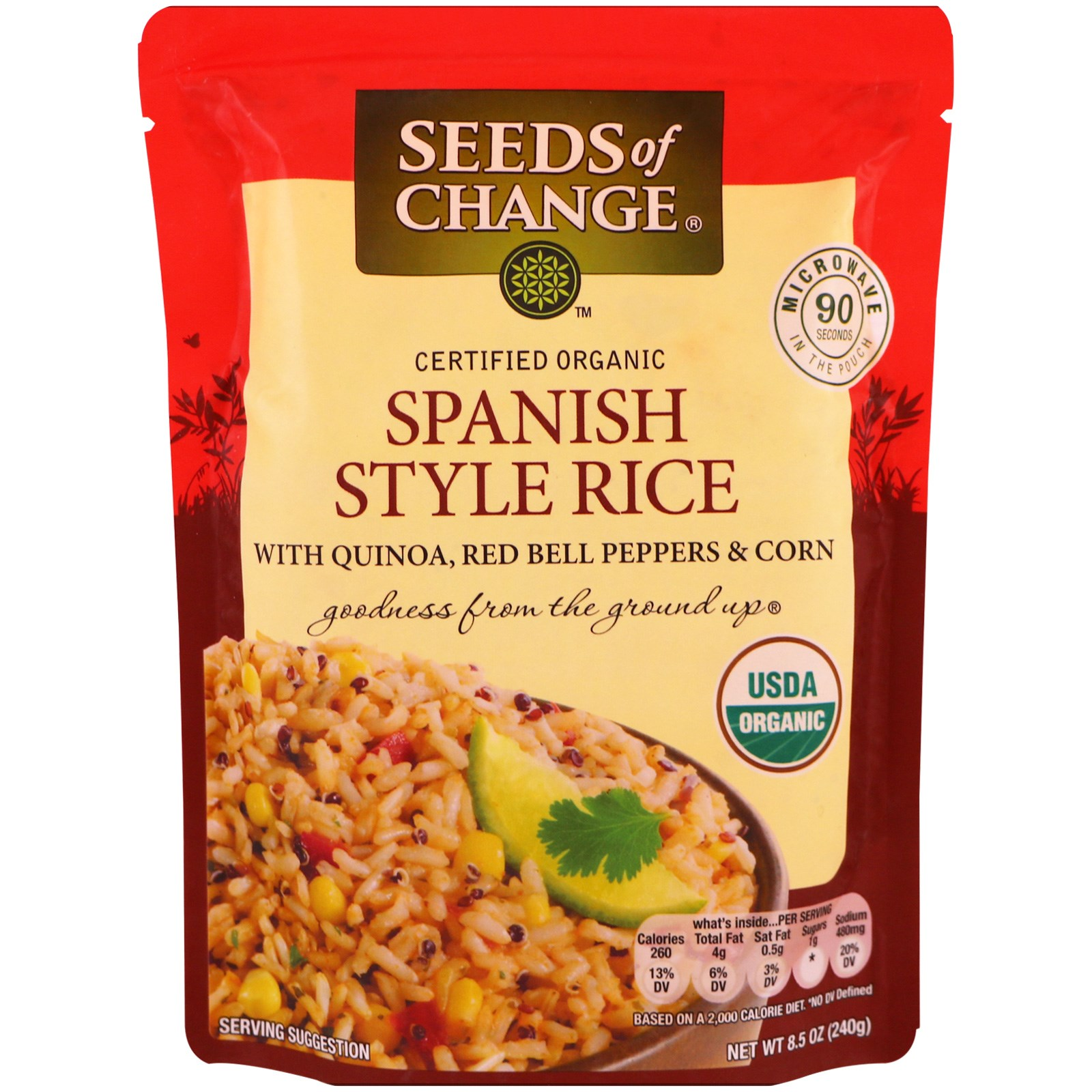 Seeds of Change, Organic, Spanish Style Rice, with Quinoa, Red Bell Peppers & Corn, 8.5 oz (pack of 1)