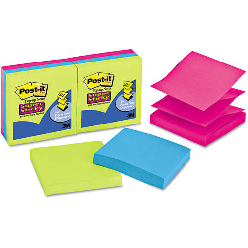 "Post-it Super Sticky Pop-up Notes, 3"" x 3"", Multiple Colors Available"