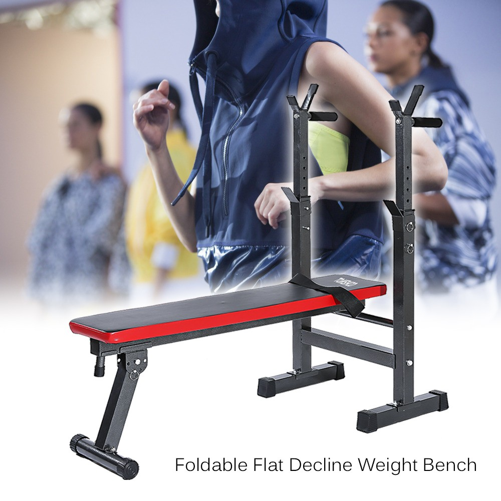 TOMSHOO Adjustable Abdominal Bench Weight Lifting Bench Barbell Dumbbell Squat Rack Stand by