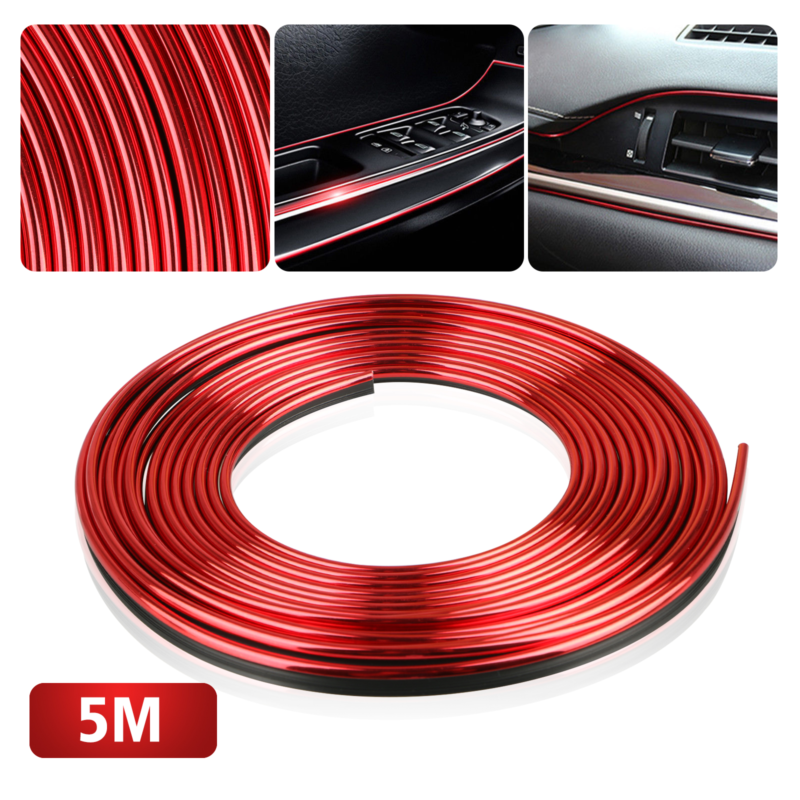Car Interior Trim, EEEKit Red 5M Car Door Gap Edge Interior Exterior Decoration Strip Flexible Insert Moulding Line for Car Automobile, Tool Included