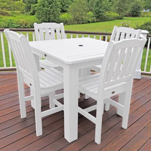 Highwood Marine-grade Synthetic Wood Lehigh 5-piece square (42x42) Dining Set White
