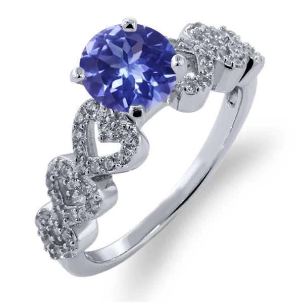 1.62 Ct Round Blue Tanzanite AAAA 925 Sterling Silver Ring by