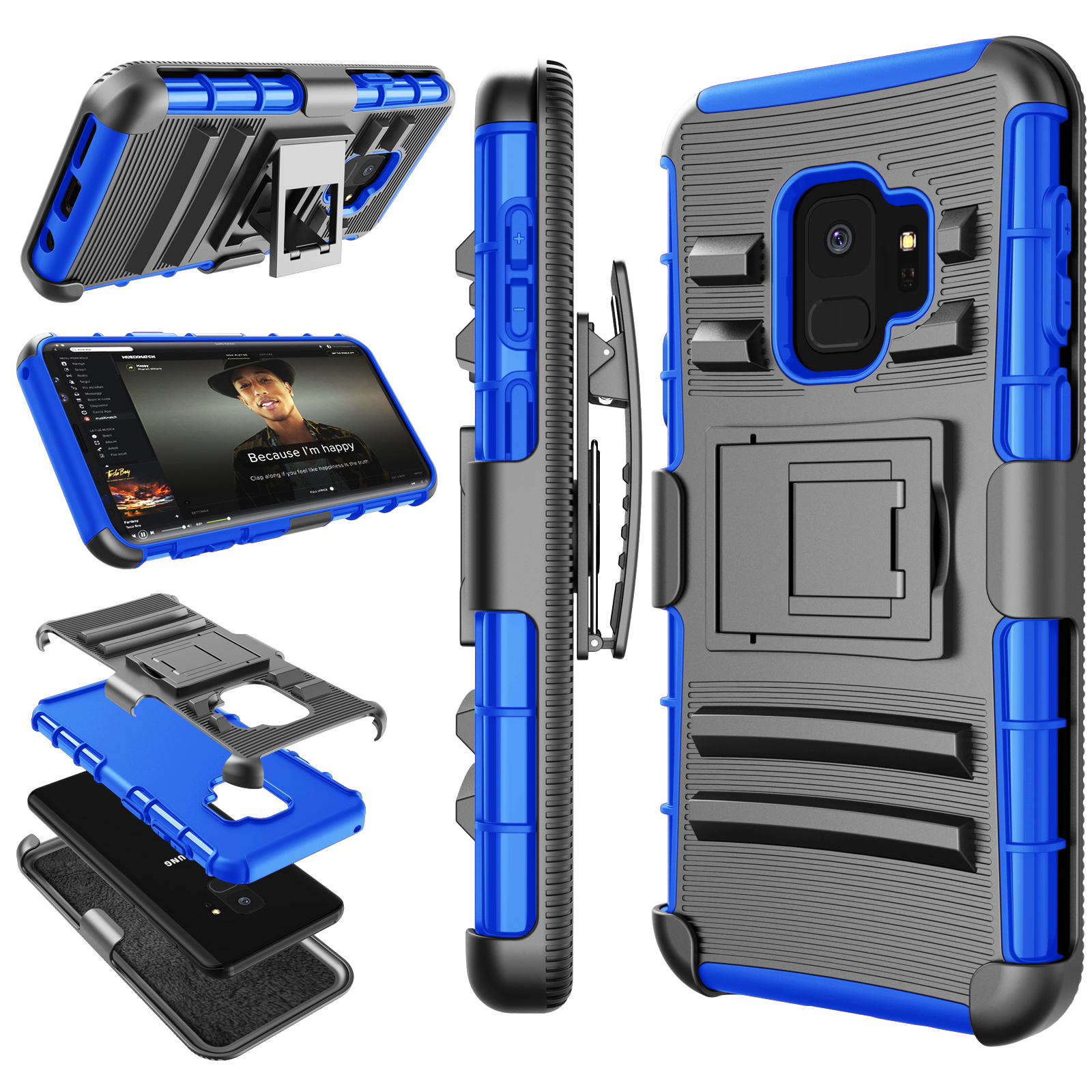 Galaxy S9 Case, Samsung Galaxy S9 Holster Belt, S9 Sturdy Case, Tekcoo [Hoplite] Shock Absorbing [Relic] Secure Locking Clip Defender Heavy Full Body Kickstand Carrying Armor Camouflage Cases Cover