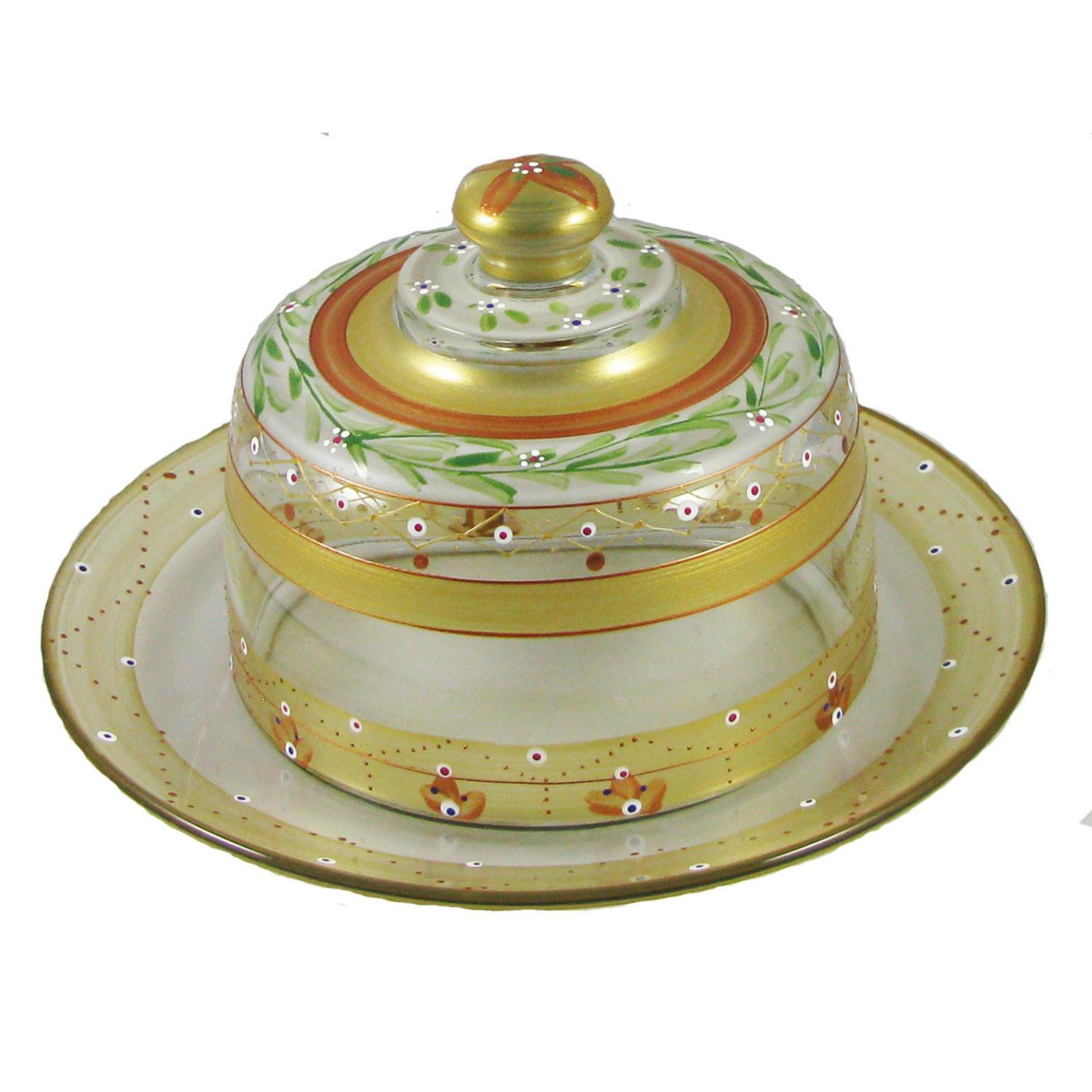 Mosaic Gold Garland & Stripes Hand Painted Glass Cheese Dome with Plate 6""