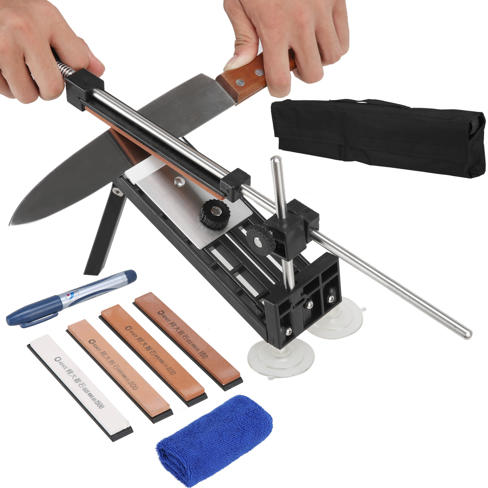 Professional Kitchen Knife Sharpener System Fix-angle with 4 Stones For Kitchen Knife by
