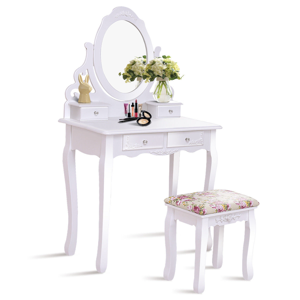 Gymax Bathroom Wood Vanity Makeup Dressing Table Stool Set White