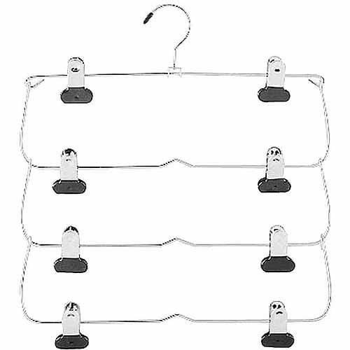 Whitmor 4 Tier Folding Skirt Hanger Chrome Black by Aksys