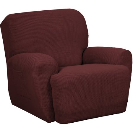 Zenna Home Small Rectangle Patterned 4-Piece Recliner Stretch Slipcover, Wine