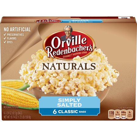 (4 Pack) Orville Redenbacher's Microwave Popcorn, Natural Simply Salted, 6 Bags, 3.29 Oz
