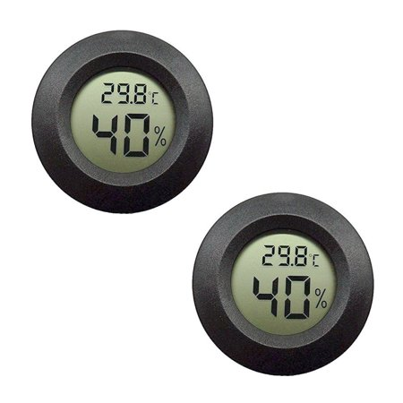 2-pack Hygrometer Thermometer Digital LCD Monitor Indoor Outdoor Humidity Meter Gauge for Humidifiers Dehumidifiers Greenhouse Basement Babyroom, Black