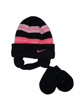 NIKE Girls Knit Hat and Mitten Set 12/24 Months