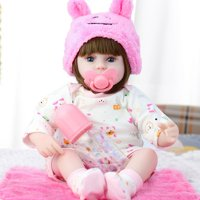 Newborn Reborn Baby Doll, Lifelike Newborn Doll, Real girl doll with 11 Type (optional) and pacifier accessories, Birthday Gift For Kids Toddler Girl Boy, 16.5inch
