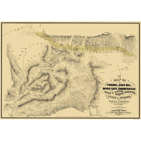 Old Mining Map   Gold  Silver Mining Districts Nevada   1865   33 X 23