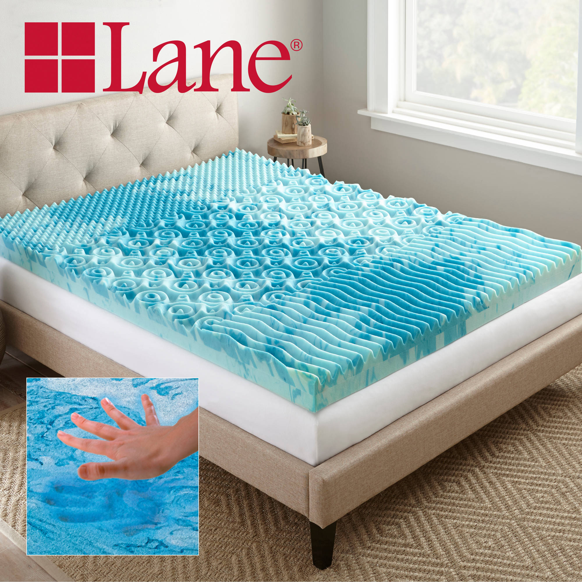 Memory Foam Mattress Topper Cooling Gel Blue Cover 4 Inch