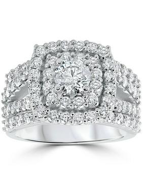 3 ct Diamond Engagement Wedding Double Cushion Halo Trio Ring Set 10k White Gold
