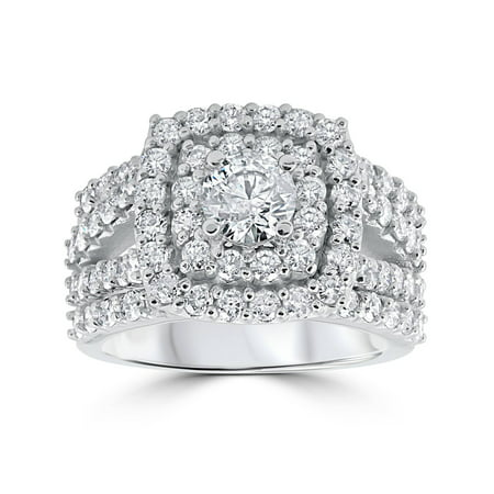Halo Wedding Set - 3 ct Diamond Engagement Wedding Double Cushion Halo Trio Ring Set 10k White Gold