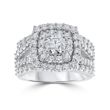 Celtic Diamond Wedding Rings (3 ct Diamond Engagement Wedding Double Cushion Halo Trio Ring Set 10k White Gold )
