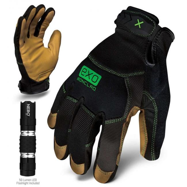 Ironclad Performance Wear EXO-MOL-02-S EXO Modern Leather Glove, Small, Black
