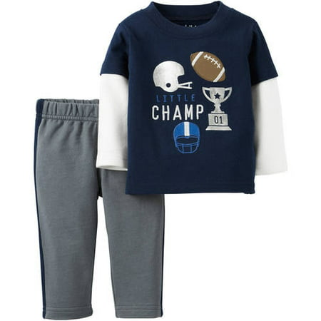9dd87ae64 Child of Mine by Carter's - Newborn Baby Boy Long Sleeve Shirt and Pants  Set - Walmart.com