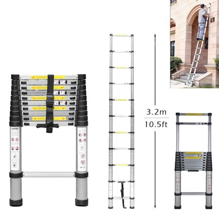Ktaxon 10.5FT Flexible Telescopic Ladder, Heavy Duty Aluminum Stretchable Extension Step Ladder Tool, Single Side Extension 11-Step