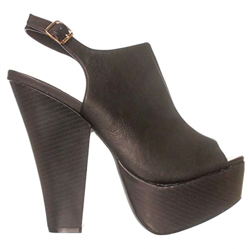 Just Fab Womens EDYTA Peep Toe Casual Platform Sandals, Black, Size 10.0