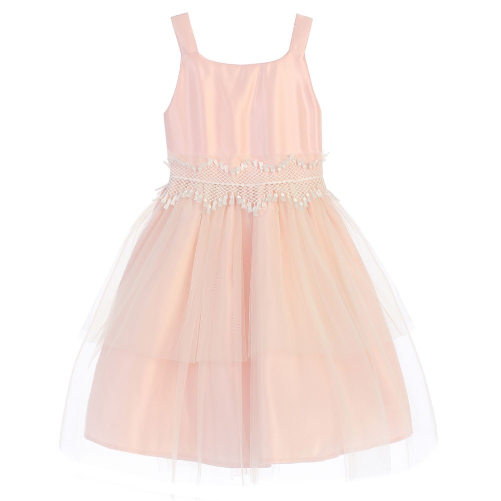 Sweet Kids Little Girls Pink Tulle Reverse Peplum Tulle E...