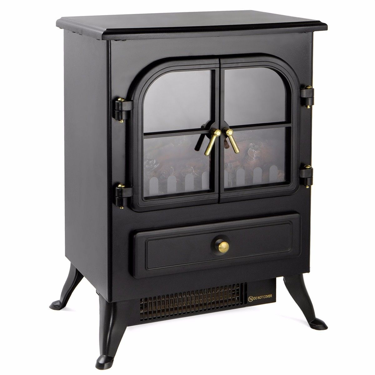 GHP 2-Heat Setting 2559BTU/5118BTU Fireplace Heater with Glass Viewing Window