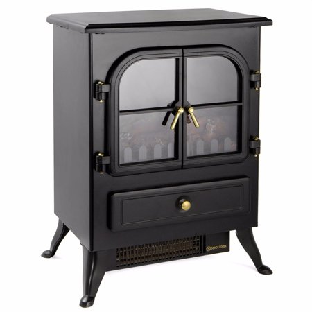 GHP 2-Heat Setting 2559BTU/5118BTU Fireplace Heater with Glass Viewing Window