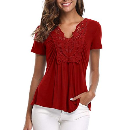 - Women's Peplum Tops Deep V-Neck Ruched Front Short Sleeve Ruffle Blouse