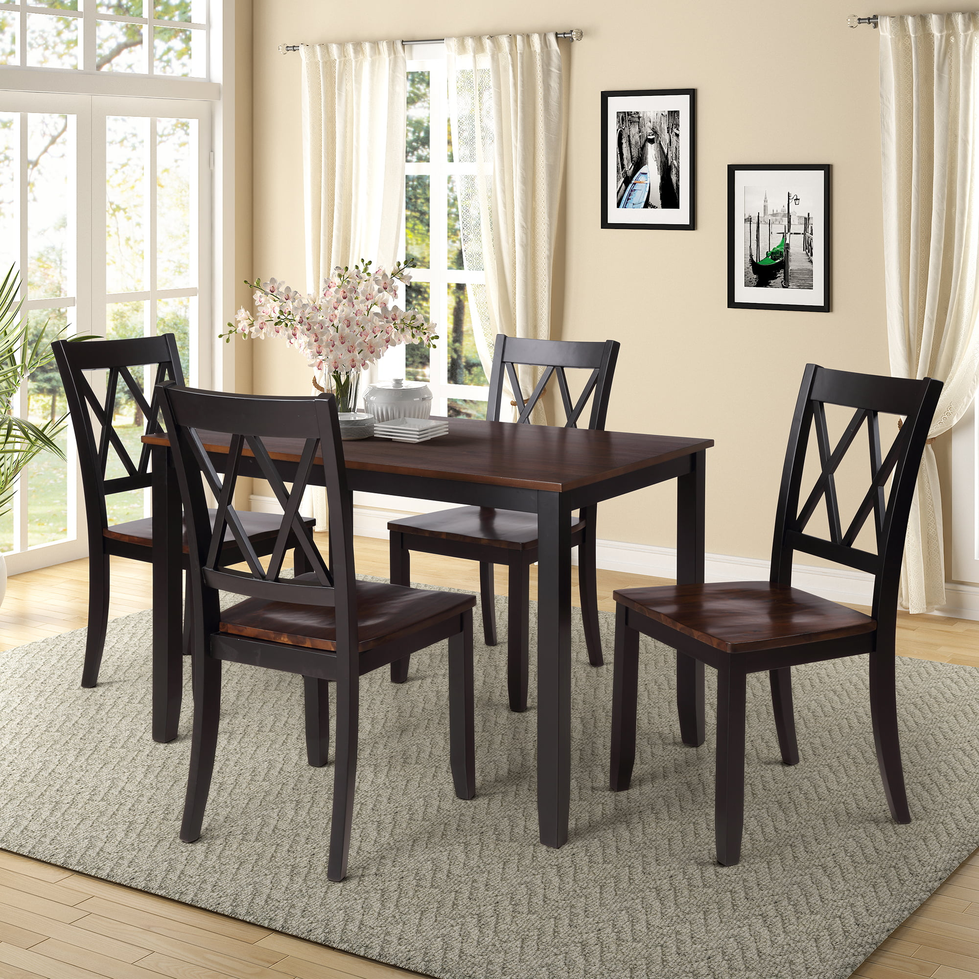 Clearance!Black Dining Table Set for 4, Modern 4 Piece Dining Room Table  Sets with Chairs, Heavy Duty Wooden Rectangular Kitchen Table Set for Home,