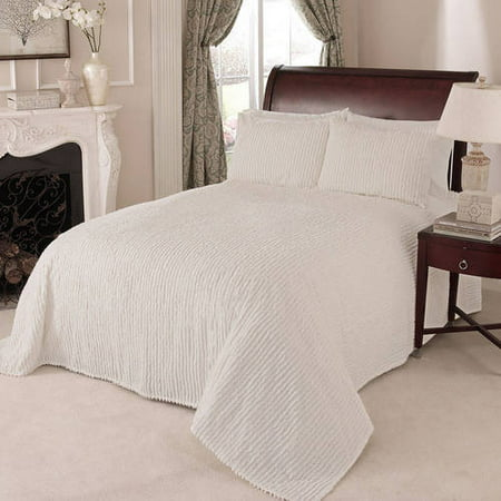 Channel Chenille Bedspread Queen Ivory ()